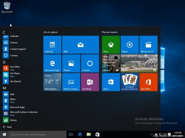 Application List on Windows 10