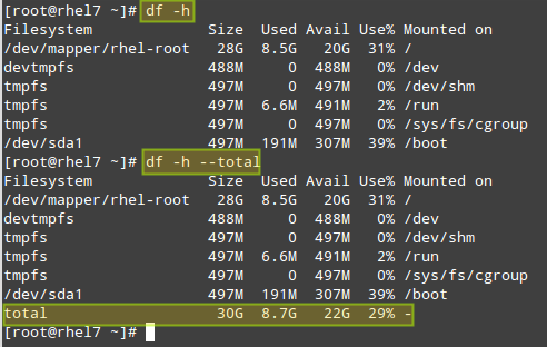 Check Linux Total Disk Usage