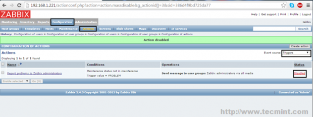 Enable Default Zabbix Mail Alert