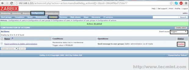Enable Default Zabbix Mail Alert