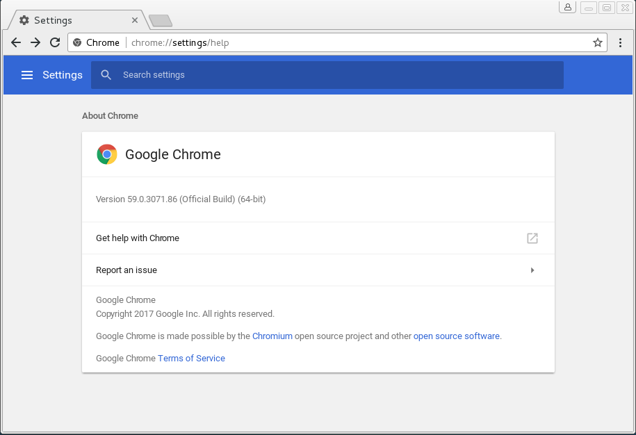 About Google Chrome 59