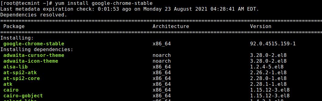 Instale Google Chrome en distribuciones de Linux basadas en RedHat