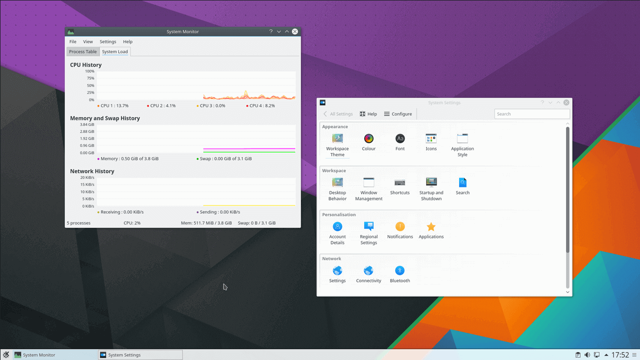 KDE Plasma System Monitor Window