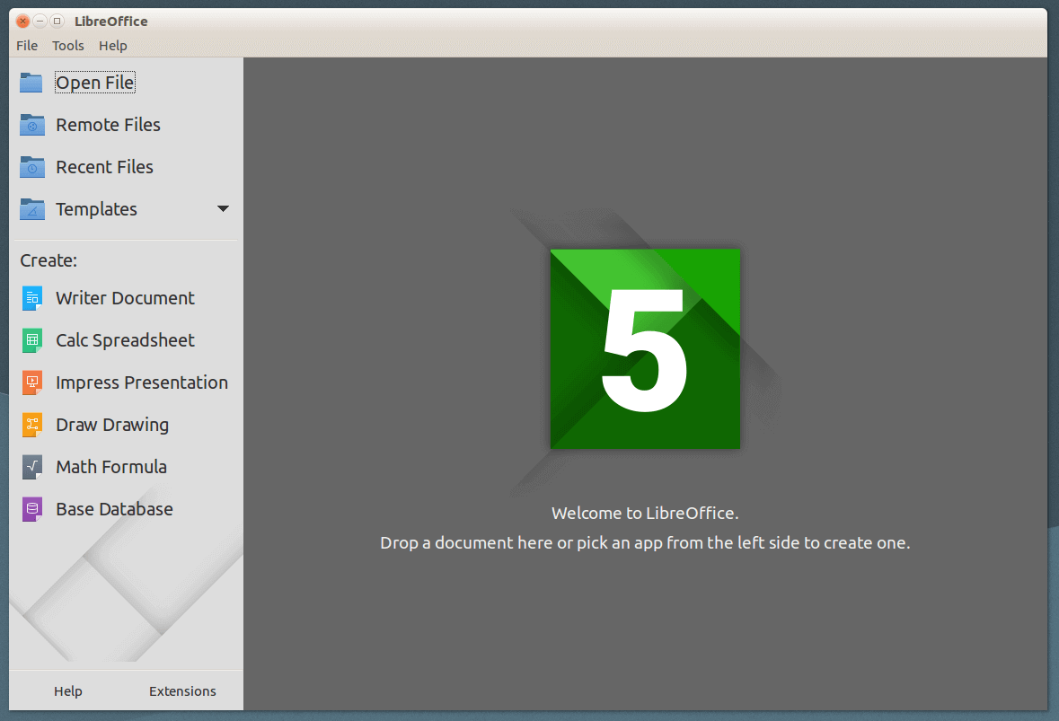 LibreOffice Welcome Screen