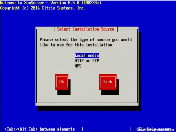 Select XenServer Installation Source