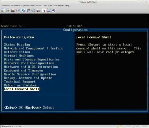 Xen Server Local Command Shell