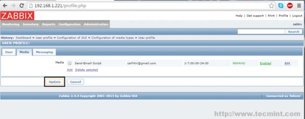 Zabbix Update Configuration