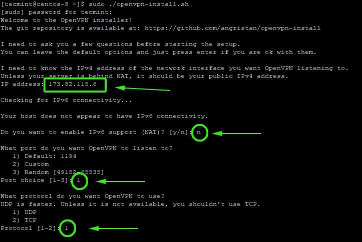 Install OpenVPN in CentOS 8