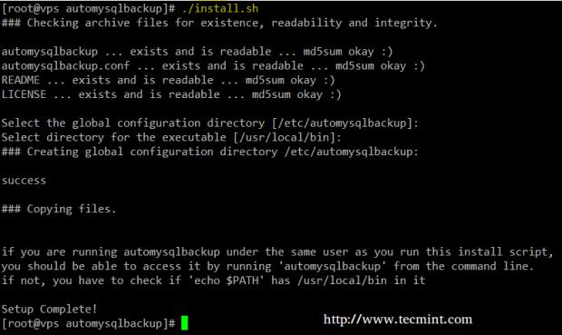 Installing AutoMysqlBackup in CentOS-7