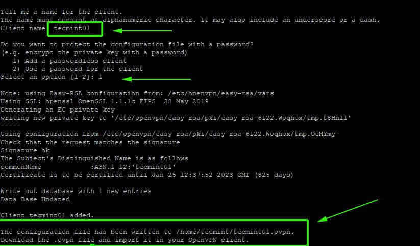 OpenVPN Client Configuration with Easy-RSA