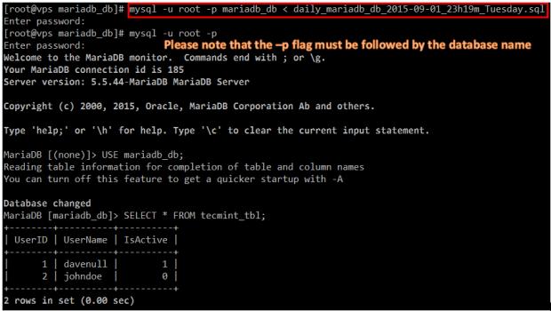 Restore MariaDB Backup