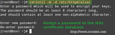Set Password for NSS Database