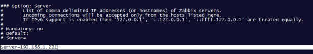 Add Zabbix Server IP Address