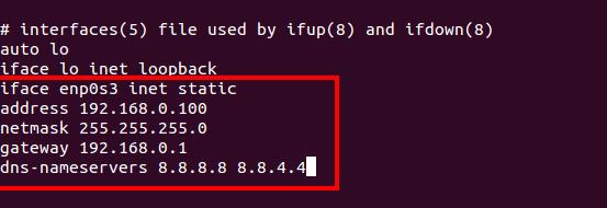 Configure Network in Ubuntu Sever