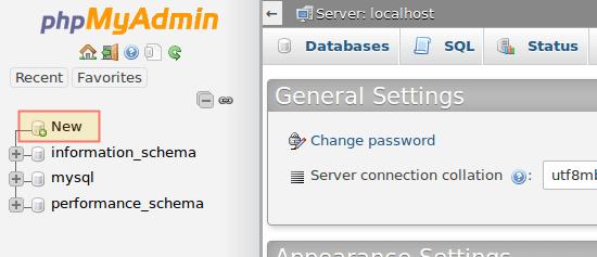 Create New Database in PhpMyAdmin