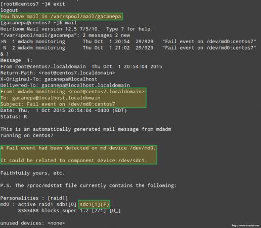 Email Alert on Failed RAID Device
