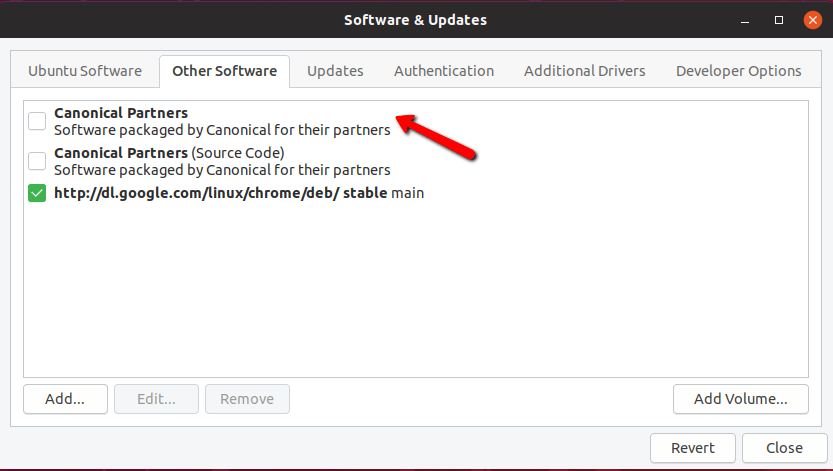 Enable Canonical Partners in Ubuntu