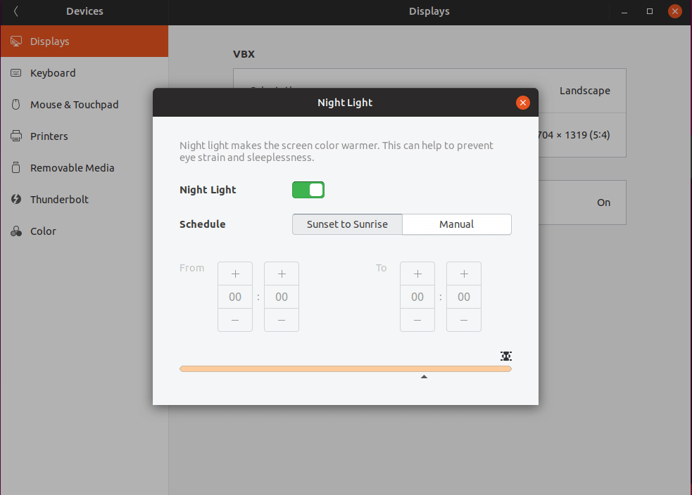 Enable Night Light in Ubuntu