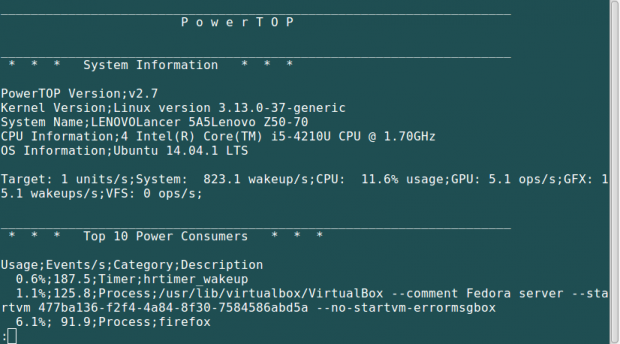 View PowerTop CSV Report