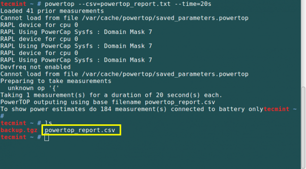 PowerTop Generate CSV Report