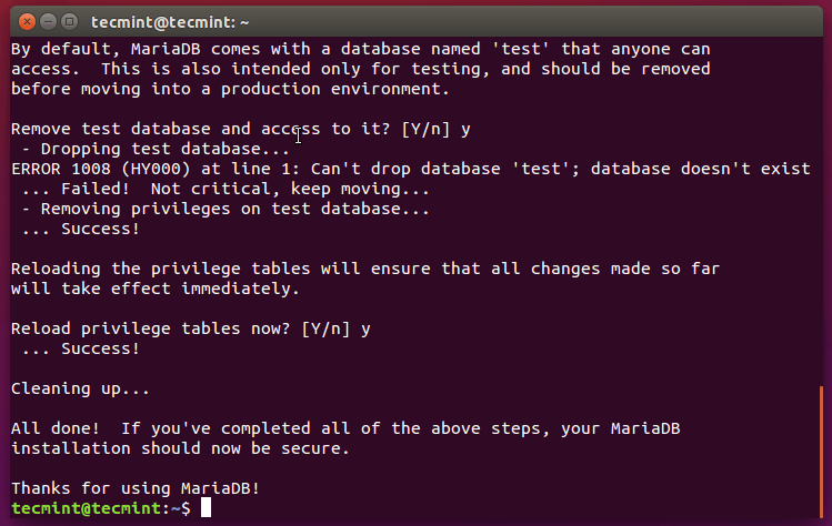 Remove MySQL test Database
