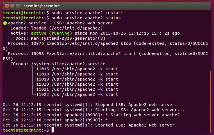 Restart Apache Web Sever