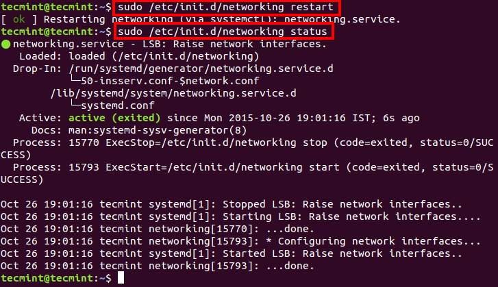 Restart Networking in Ubuntu