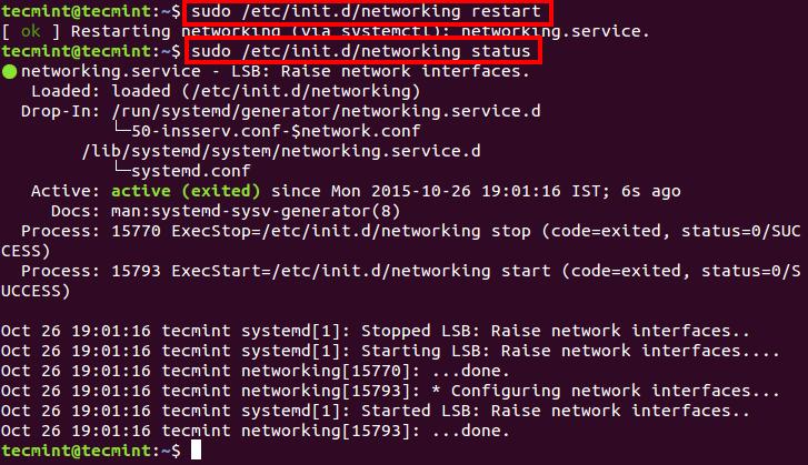 Restart Networking in Ubuntu
