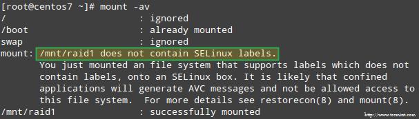 SELinux RAID Mount Error