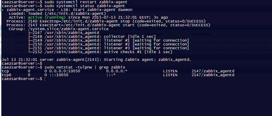 how to start zabbix-agent on centos 7