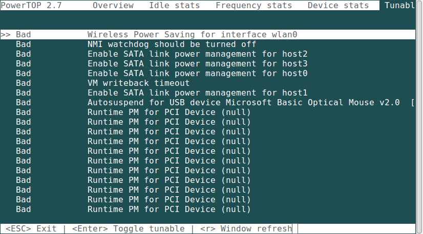 PowerTop - Monitors Total Power Usage and Improve Linux