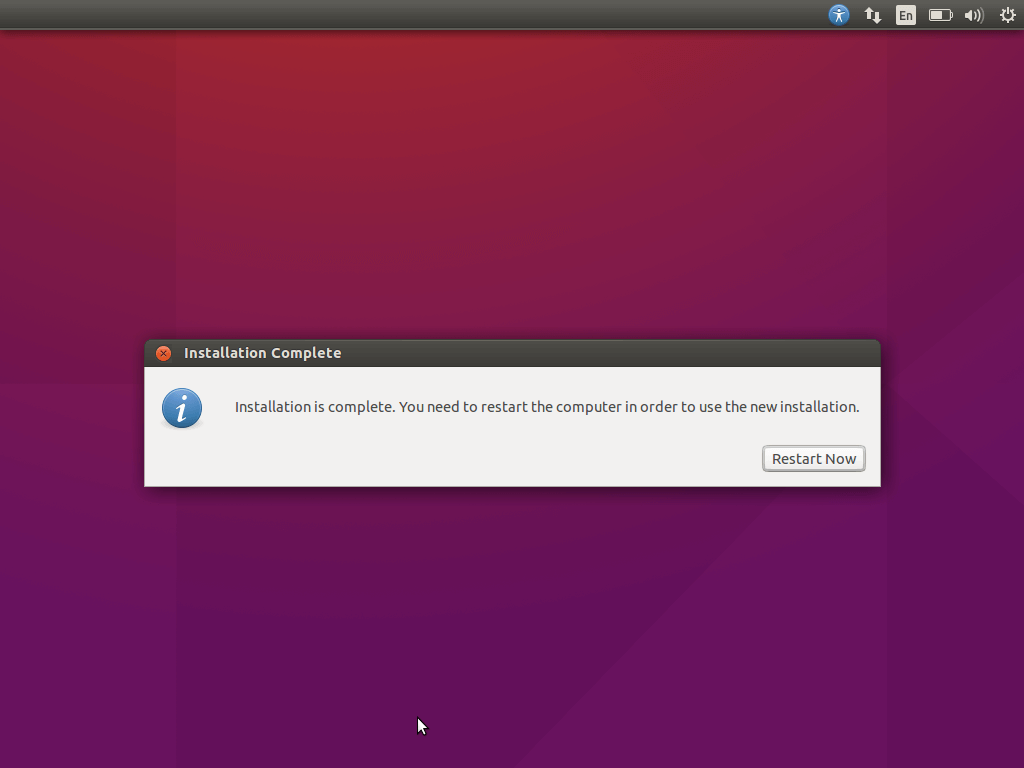 Ubuntu 15.10 Installation Completed