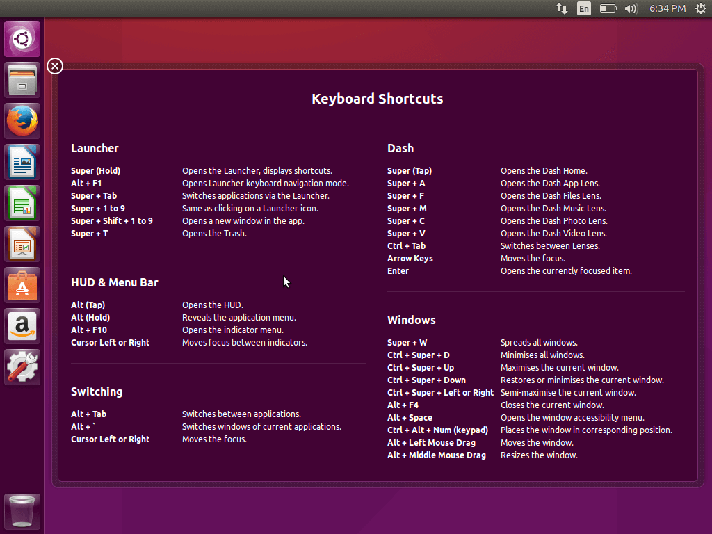 Ubuntu 15.10 Keyboard Shortcuts