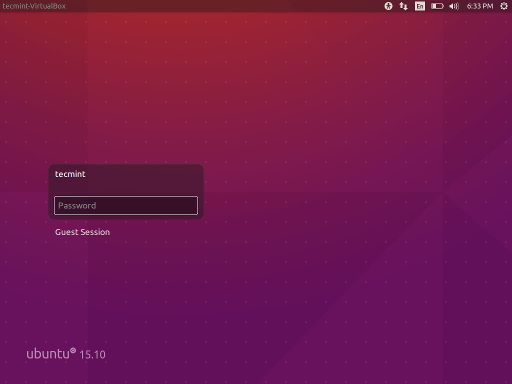 Ubuntu 15.10 Login Screen