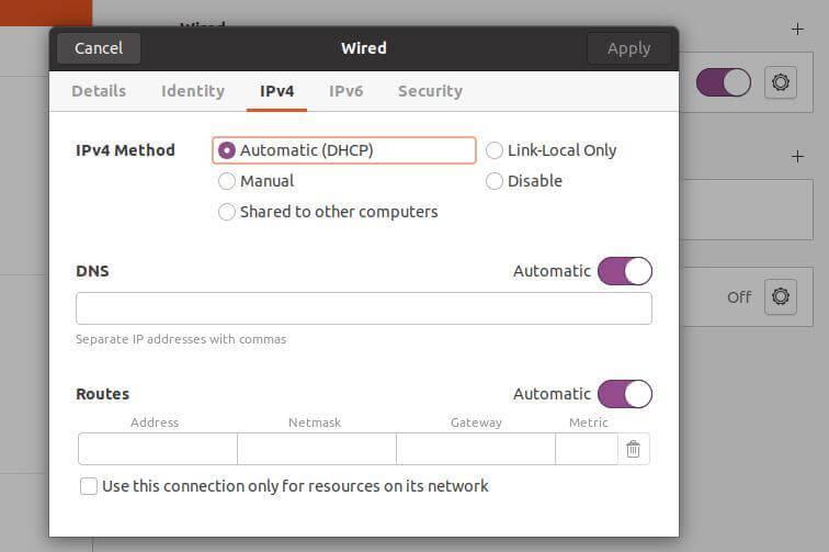 Ubuntu Network Method