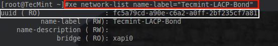 Check XenServer Network UUID