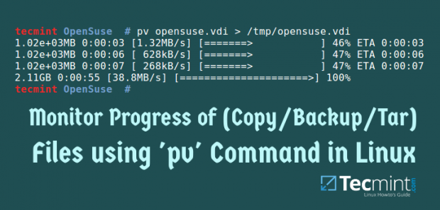 Show Copy/Backup/Tar File Progress Bar in Linux