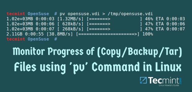 Show Copy/Backup/Tar File Progress Bar in Linux