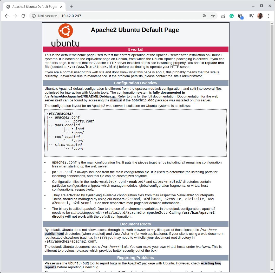 Check Apache Default Page