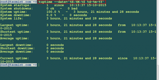 tuptime date and time