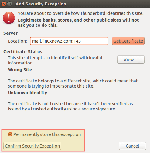 Thunderbird: Add Security Exception