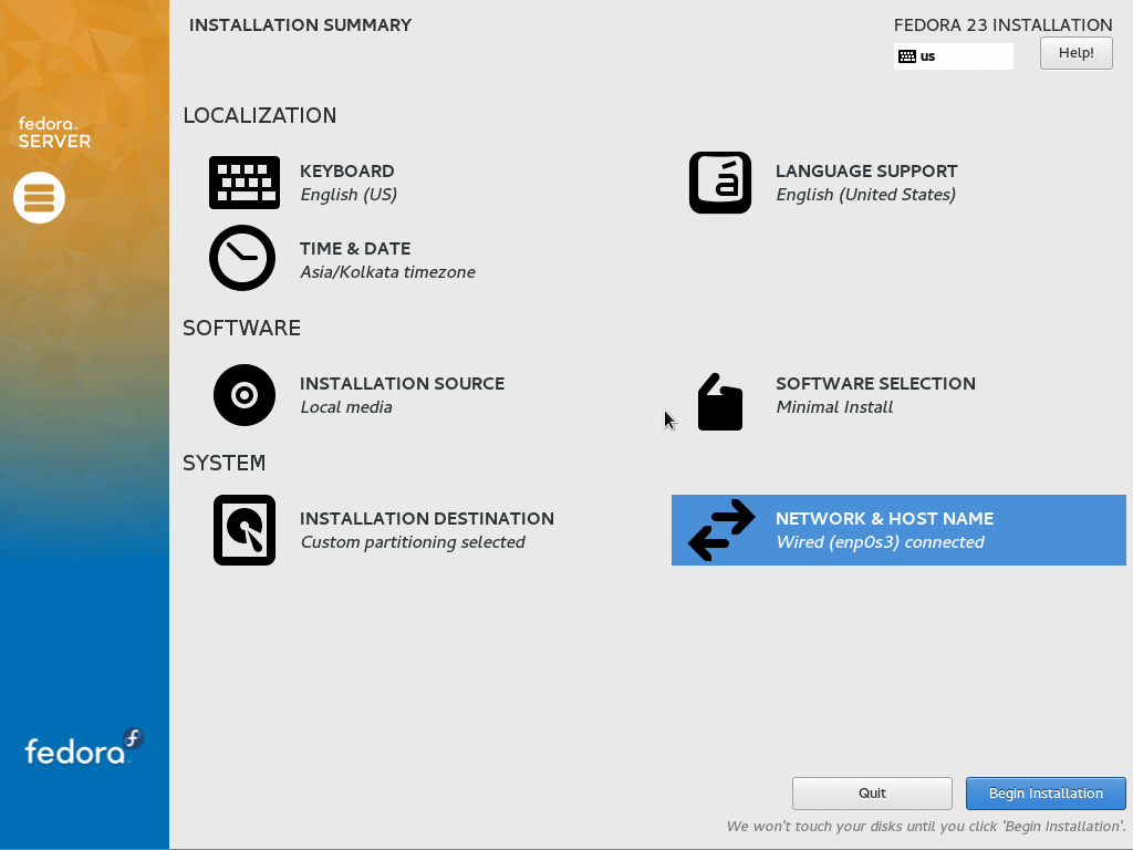 Begin Fedora 23 Installation