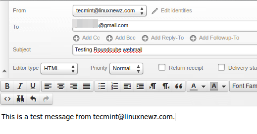 Compose Mail in Roundcube Webmail
