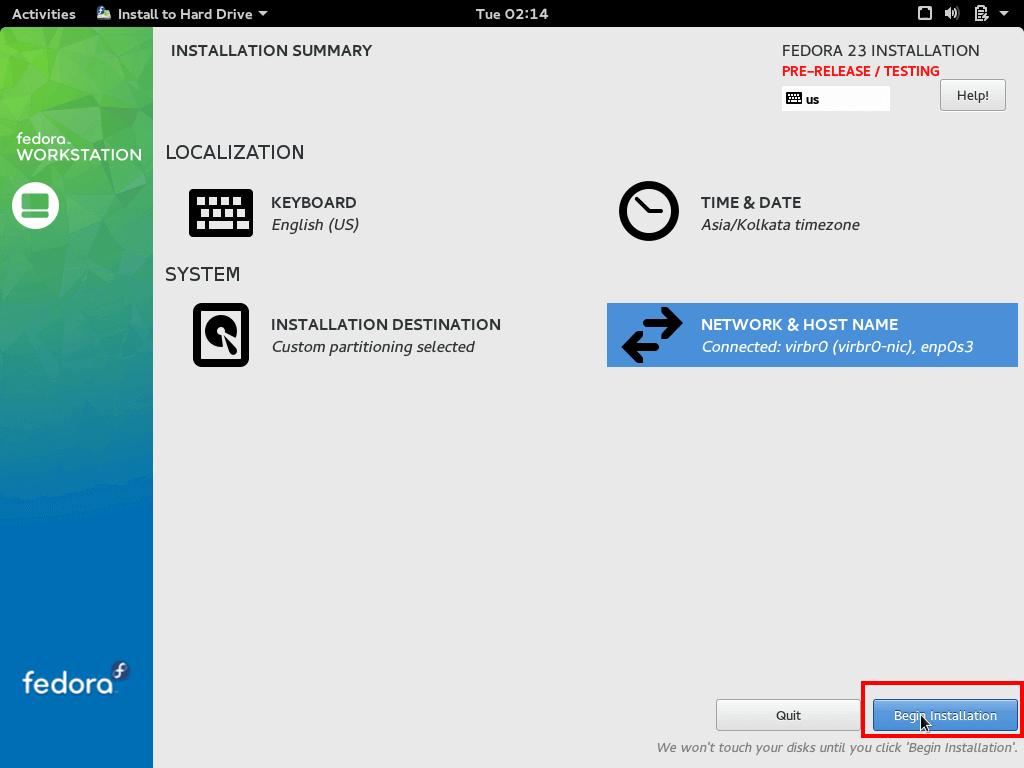 Fedora 23 Installation Summary