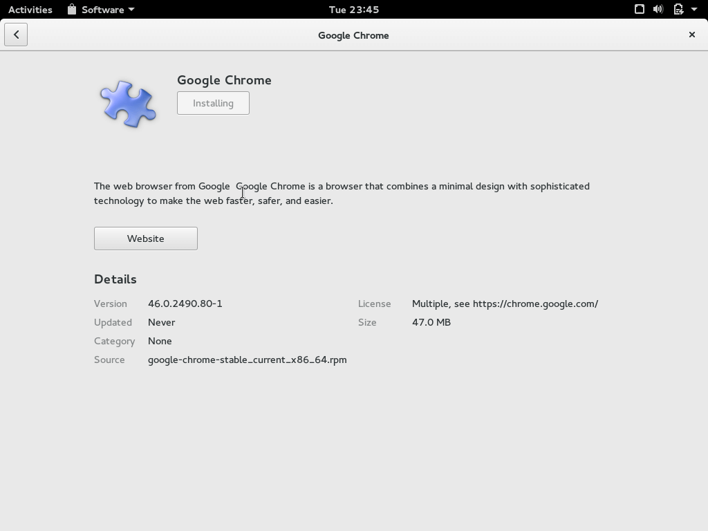 Install Google Chrome in Fedora 23