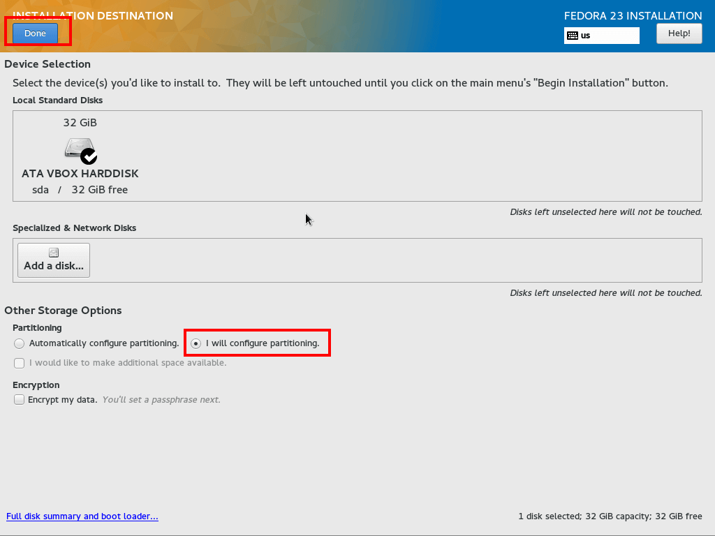Configure Installation Destination