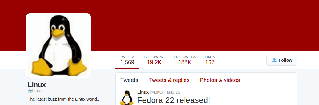 Follow @Linux