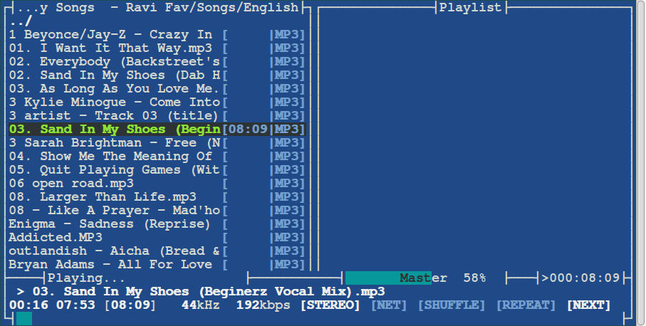 MOC Commandline Music Player