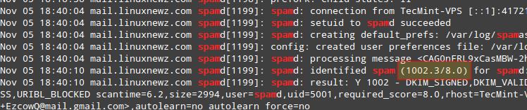 Monitor SpamAssassin Mail Logs