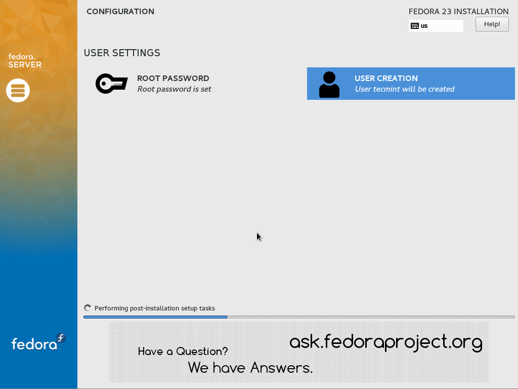 Performing Fedora 23 Installation
